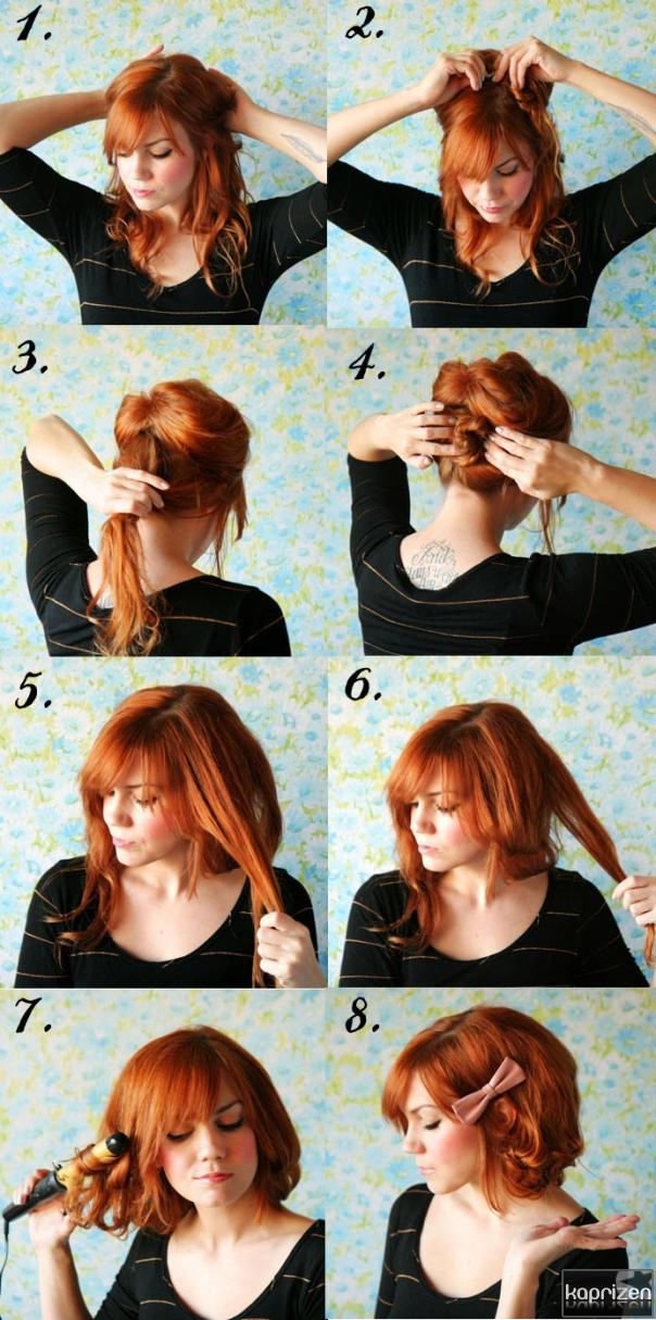 Прически на короткие волосы в домашних условиях фото девочками